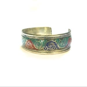 Nepalese adjustable turquoise ethnic bracelet cuff